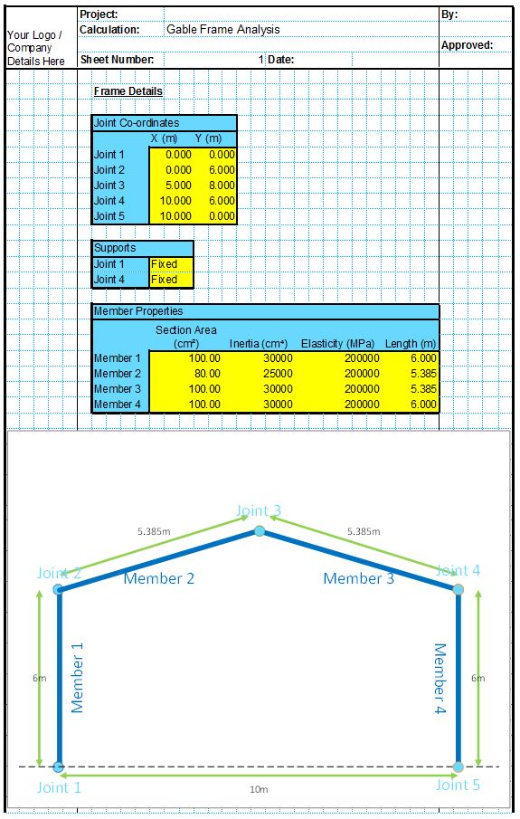 Gable Frame Analysis Spreadsheet 1