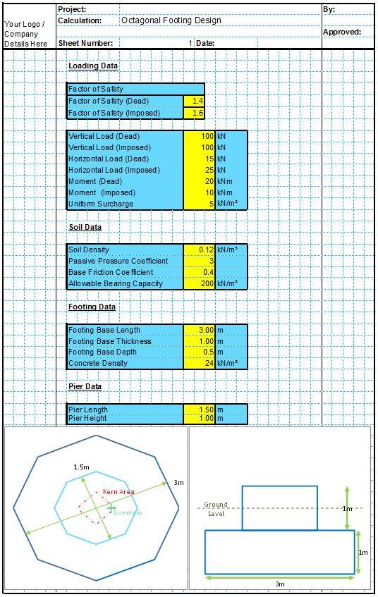 Octagonal Foundation Design Spreadsheet1