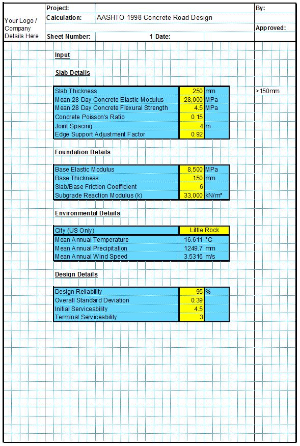 AASHTO 1998(1) Concrete Road Design Spreadsheet