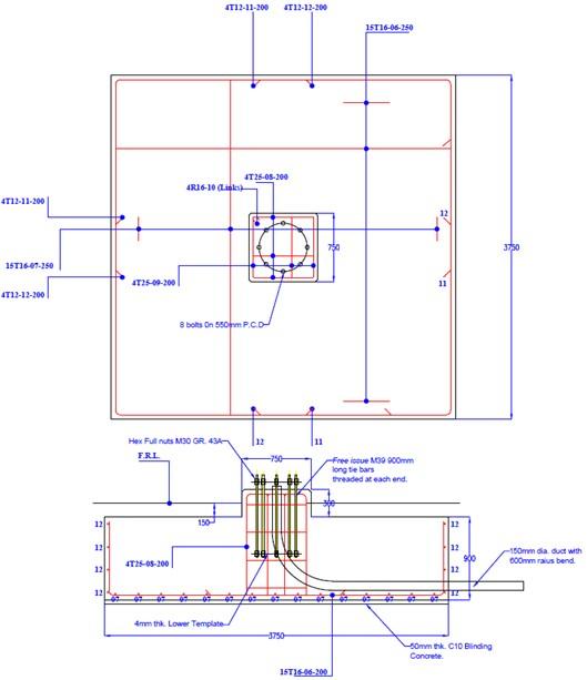 30m High Mast Foundation Drawing2
