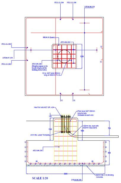 30m High Mast Foundation Drawing3