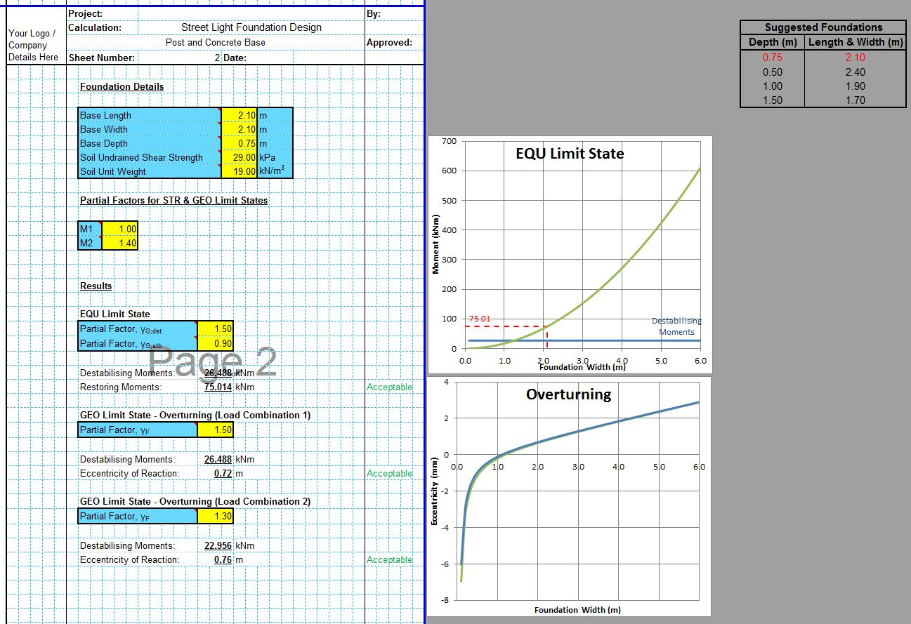 Street Light Foundation Design Spreadsheet6