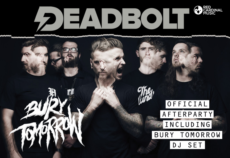 Official Bury Tomorrow Afterparty Manchester Deadbolt, Dani and Davyd Winter-Bates- Red Cardinal Music