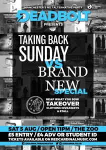 Deadbolt Taking Back Sunday vs Brand New Special - Zombie Shack Manchester - Red Cardinal Music