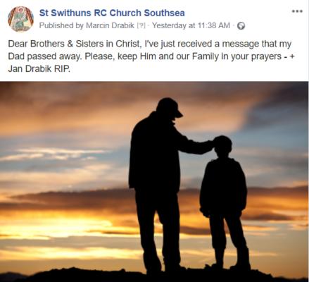 RIP - Jan Drabik - Please Prayer for Father Marcin's Father who has died