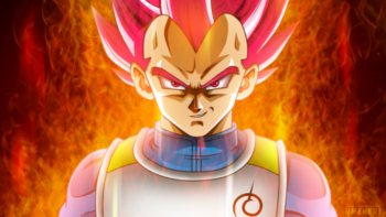 Vegeta's Super Saiyan God transformation