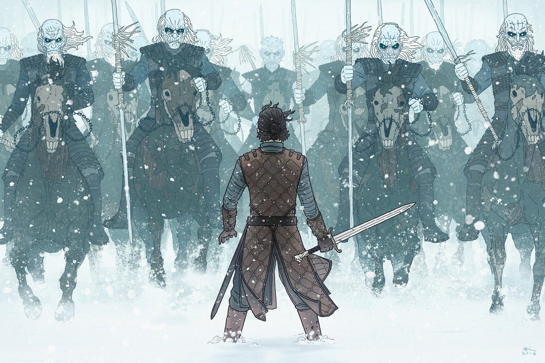 Jon Snow in the battle standing in front of enemies