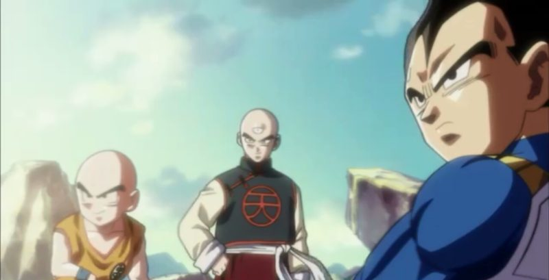 Krillin Tien and Vegeta in ending theme song in Dragon Ball Super