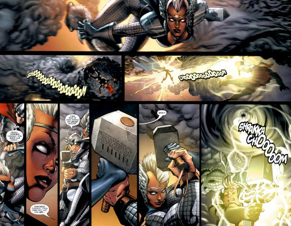 Storm and Thor both lift mjolnir