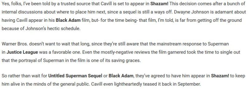 Henry Cavill's rumors to appears in the DC's Shazam!