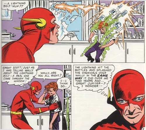 wally west gets his powers accidently