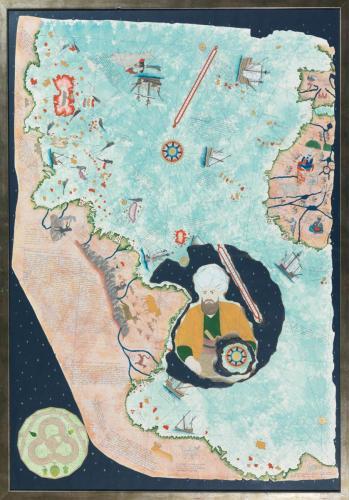 PİRİ  REİS'İN  DÜNYASI ve  KİLİTBAHİR KALESİ (2013) Piri Reisin dünya haritasından yararlanarak özgün tasarım.