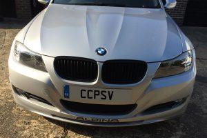 Front of BMW Alpina D3 post car detailing