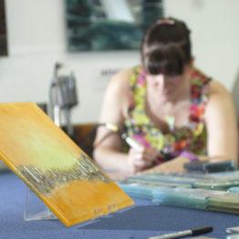 Stephanie Bowen finishig of the fused glass