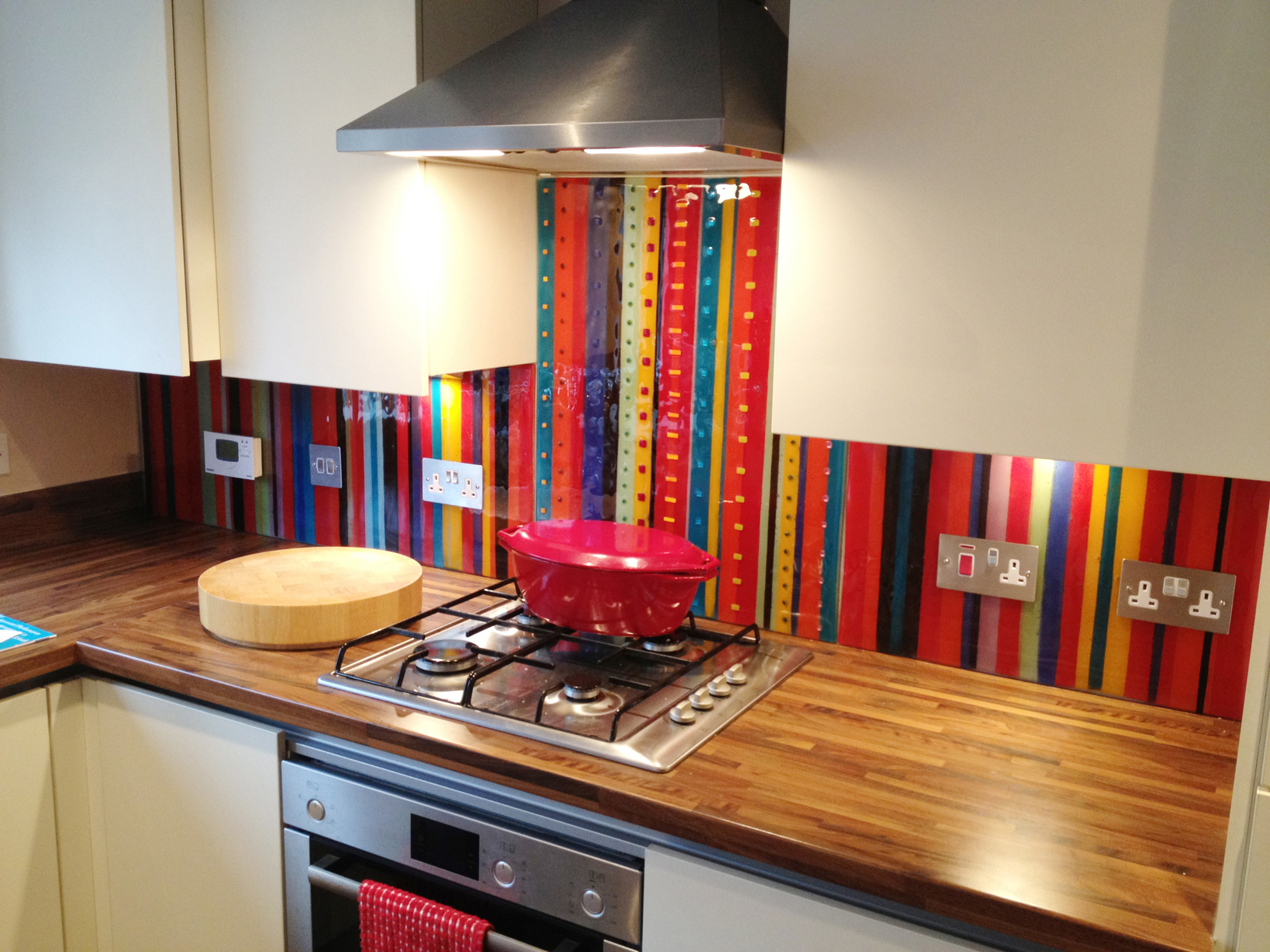 Bespoke Stripe fused glass splashback