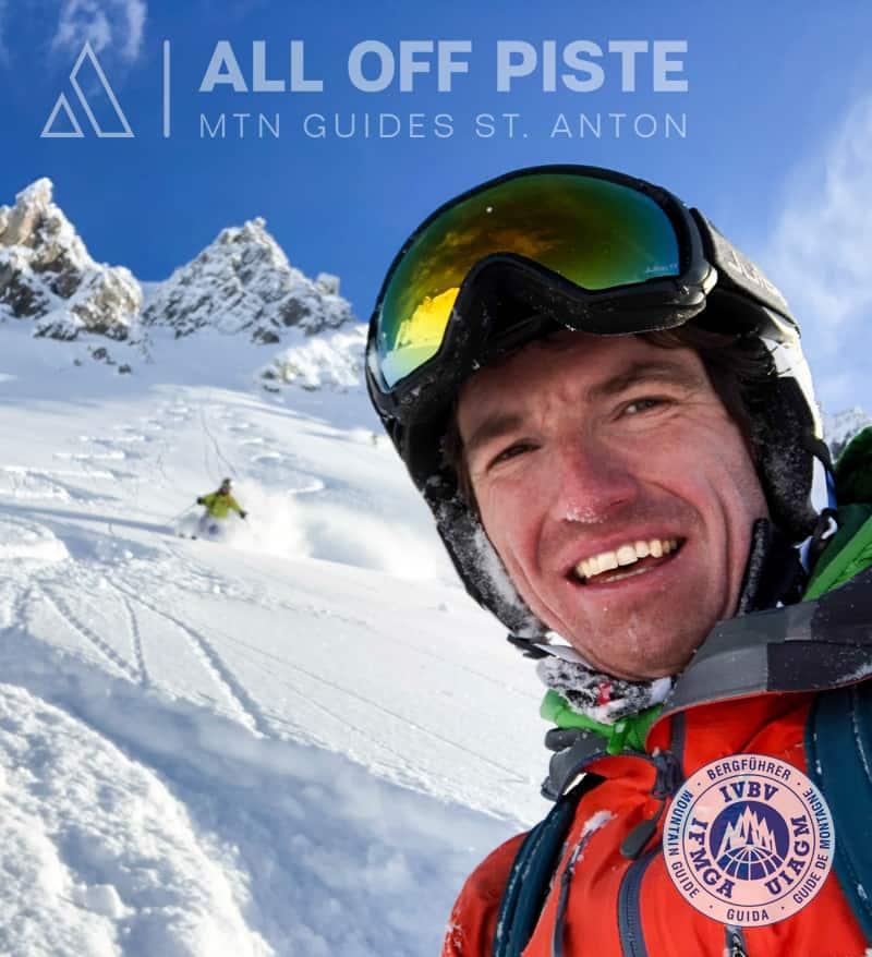 Skier in the deep powder of the Schindlergart west side in St. Anton am Arlberg