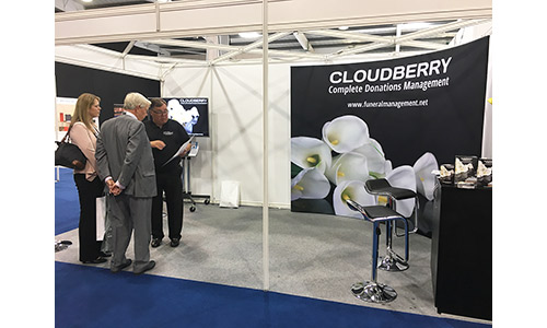 Cloudberry Funeral Management Solutions exhibition stand