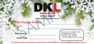 Christmas themed driving lesson gift voucher