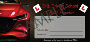 Red car themed driving lesson gift voucher from DKL Driving School