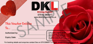 Valentines themed driving lesson gift voucher