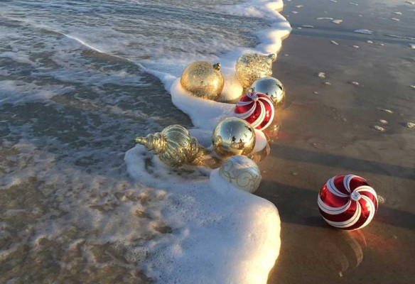 Christmas ornaments in Marbella beach