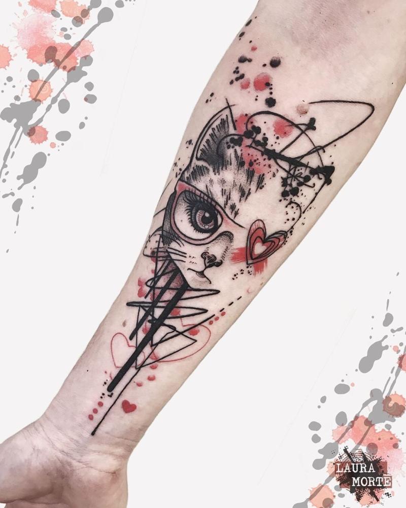 cute trash polka tattoo