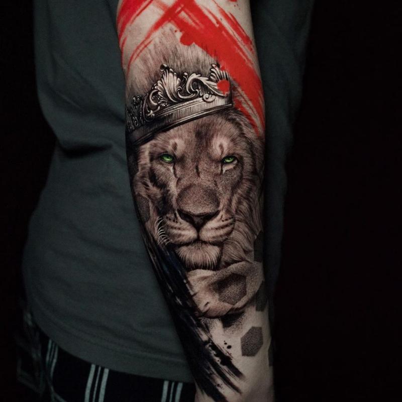 lion trash polka tattoo