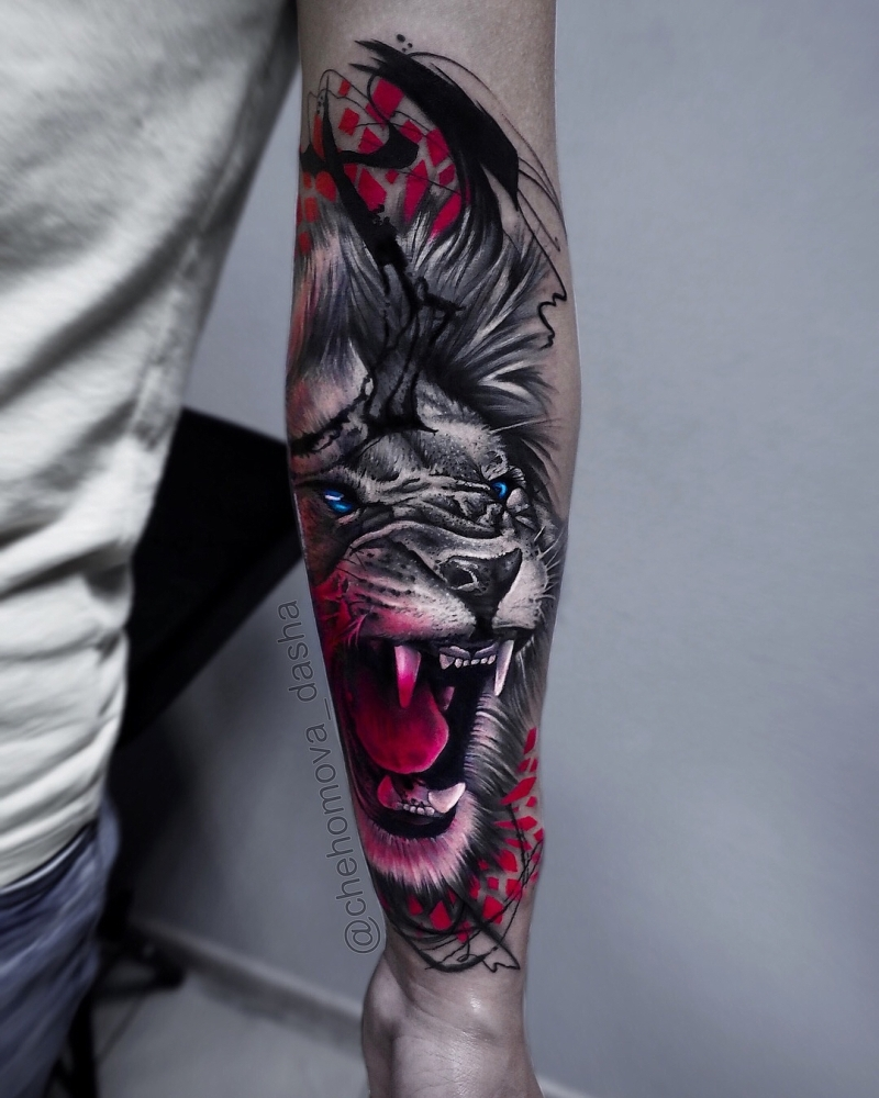 creative trash polka tattoo