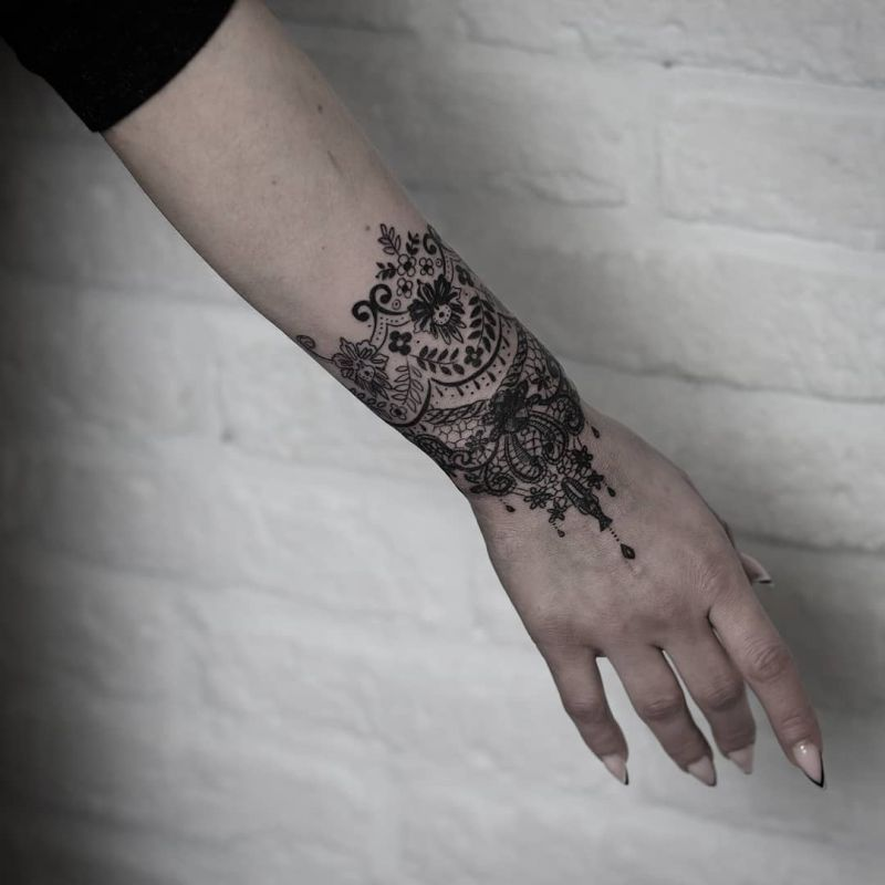 delicate lace tattoos