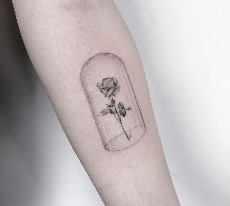 rose in glass tattoo