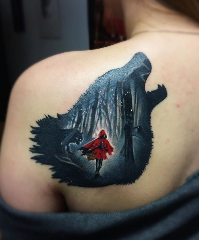 creative wolf tattoo ideas