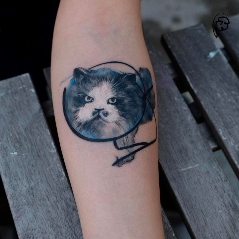 awesome cat tattoo by Tayfun Bezgin
