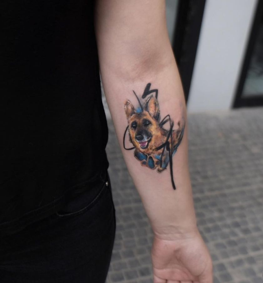 dog tattoo by Tayfun Bezgin