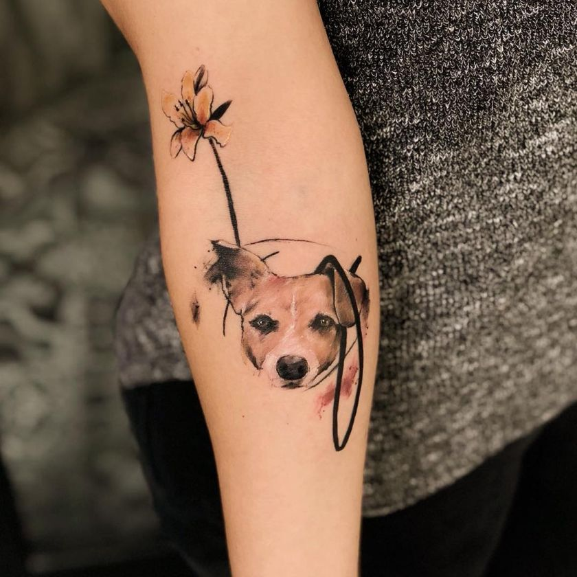 sketchy watercolor dog tattoo