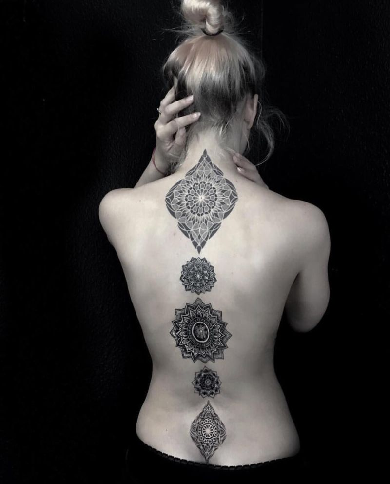spine mandala tattoos