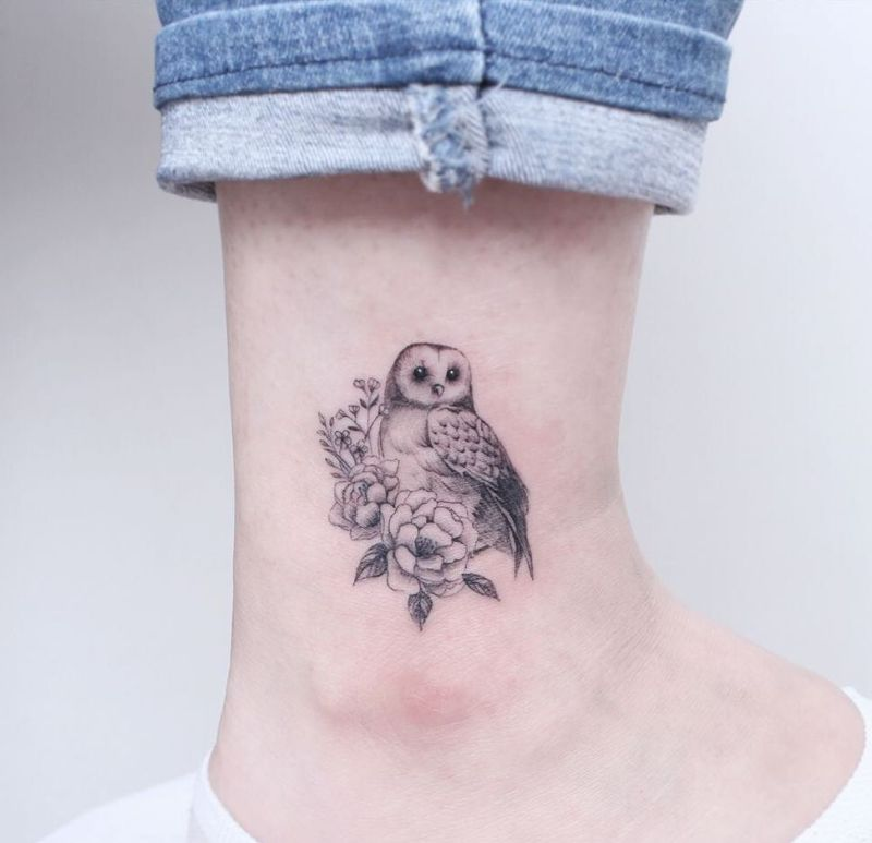 Owl tattoo with Peony