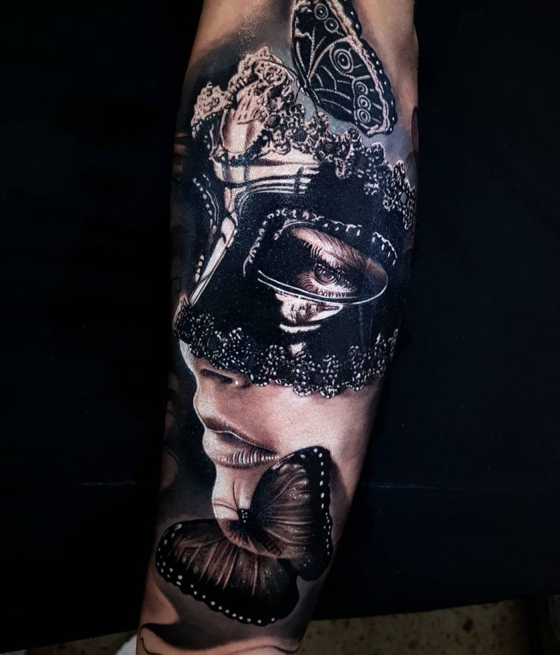 masquerade mask tattoo