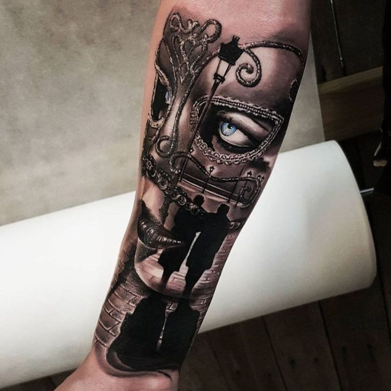 venetian mask tattoo