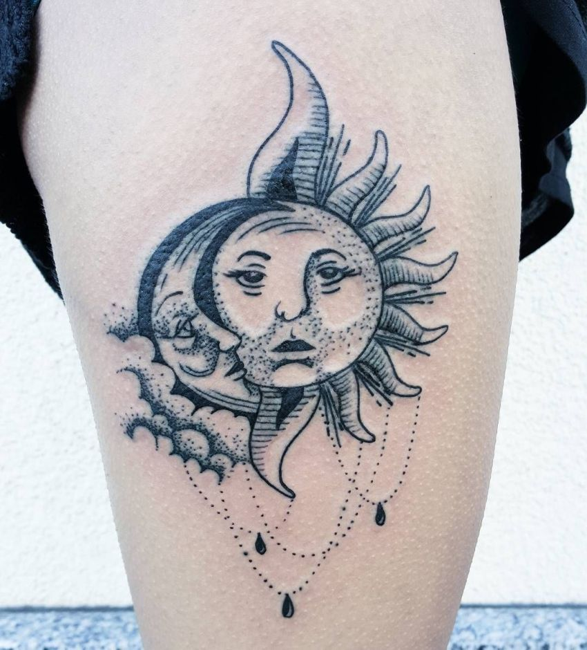 moon sun tattoo