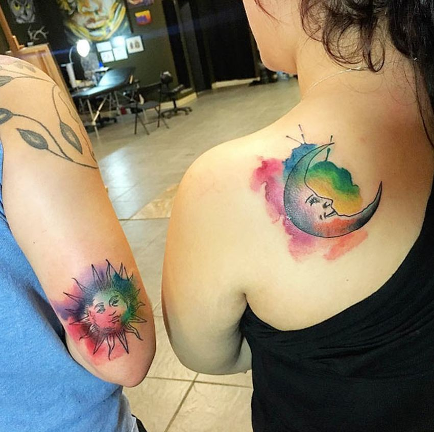 sun and moon tattoo for sisters