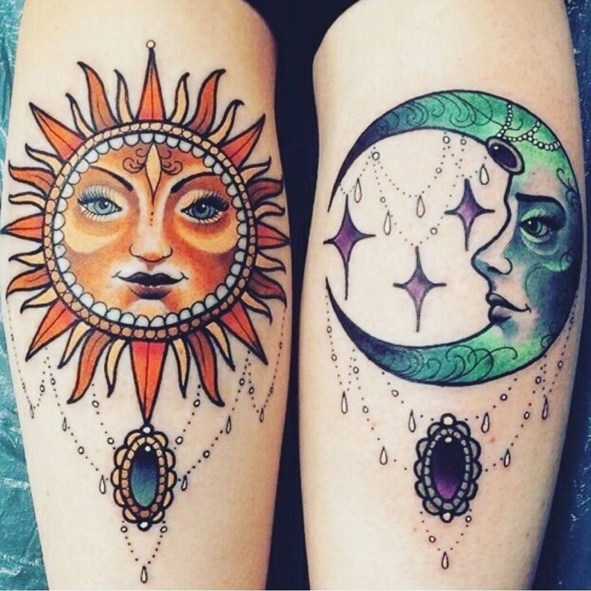 sun and moon colored tattoo