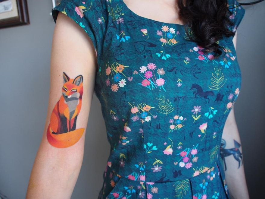 watercolor fox tattoo