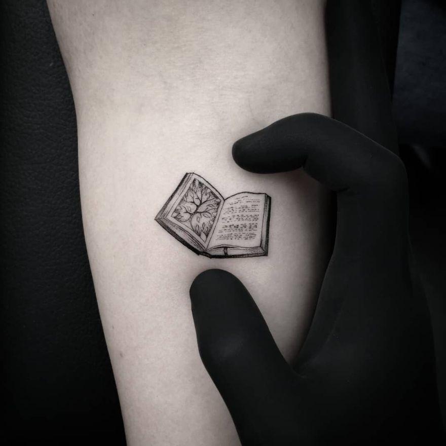 minimalist book tattoos