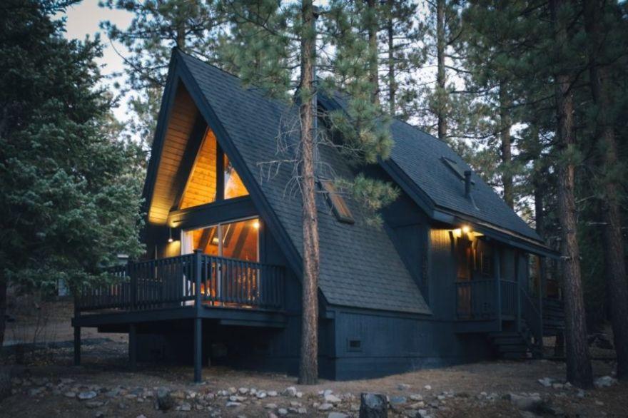 A-frame cabin modern makeover