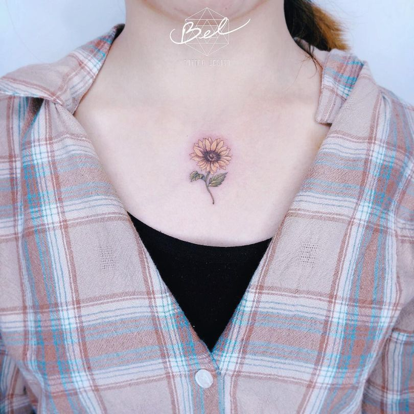 sunflower tattoo for girls