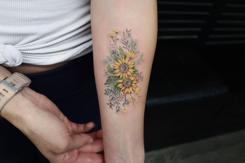beautiful sunflower tattoo