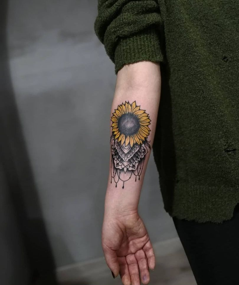 ornamental sunflower tattoo