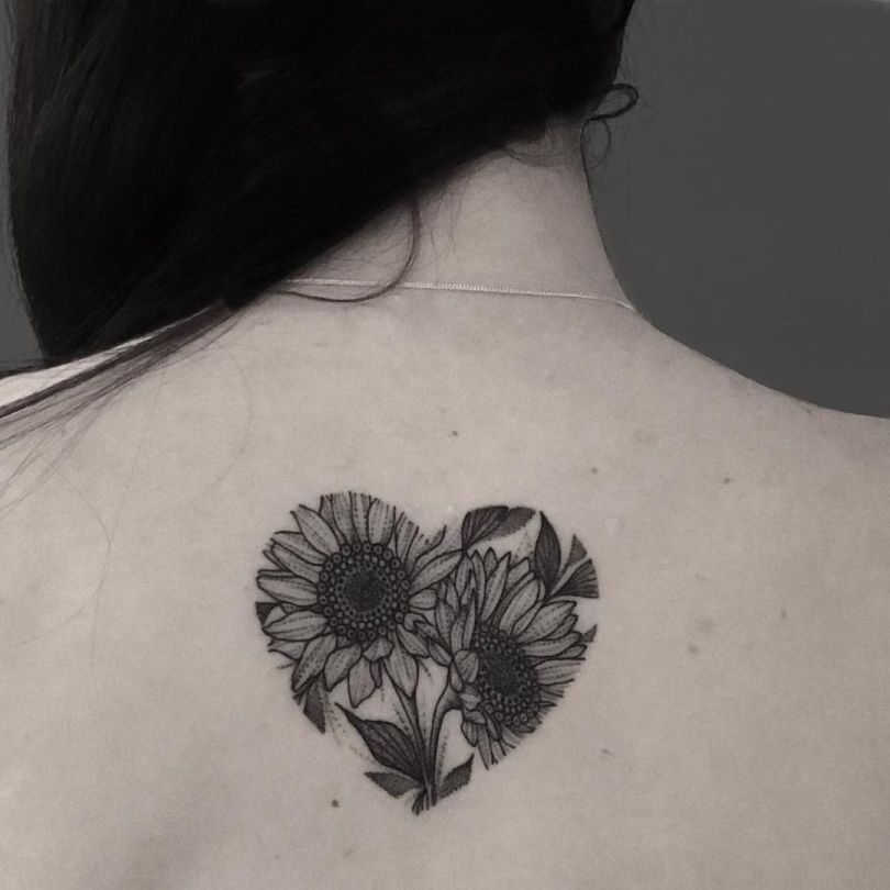 sunflower heart tattoo