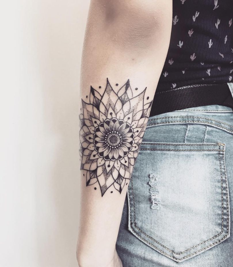 sunflower mandala tattoo