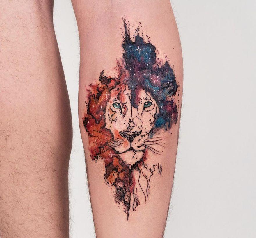galaxy lion tattoo